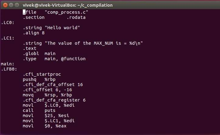Assembly code in the output of the compilation stage